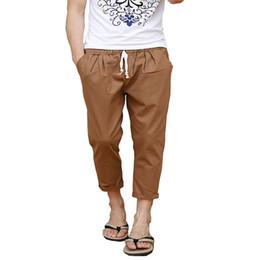 Wholesale Flax Pants Xl - Wholesale-Hot Linen Pants Men summer linen Casual Trousers Fashion Breathable Flax Cotton casual Pants 8color Plus size M-5XL