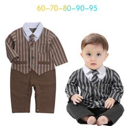 Wholesale Wholesale Girls Neck Ties - Ins Babys Boys Romper Stripe Kids Clothing 2017 New Autumn Winter Jumpsuits Rompers Long Sleeve newborn Tie Romper YAN-597