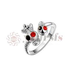 кольца из 18-каратного золота Скидка Yoursfs индивидуальный стиль череп кольца 18K Роза / белое золото покрытием кольцо с черепом открытие кольца для женщин Анель Прата masculino