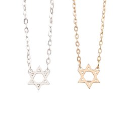 Wholesale Wholesale Star David - 2016 Women Necklace Jewelry Top Quality Stainless Steel Star of David Silver Rope Hexagram Pendant Necklace Star Pendant Necklace