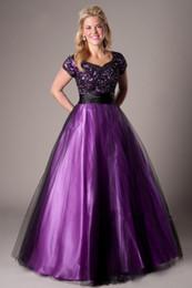 2019 schwarz lila A-Linie bescheidenen Prom Abendkleider mit Ärmeln bodenlangen Perlen Spitze Applikationen Tüll Prom Kleider bescheidenen billig von Fabrikanten