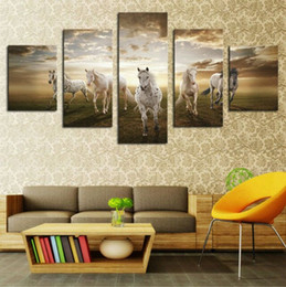 Wholesale Large Oil Paintings Decor - Hot Sell 5 panels animals painting running horse Large HD Picture Modern Painting Home Decor Canvas Print on canvas
