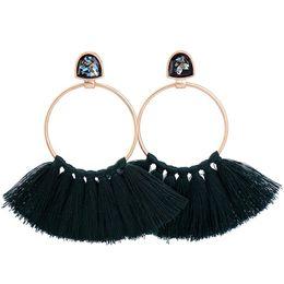 Wholesale Indian Lady Dress - Fan-shaped tassel lady earrings European and American style of the palace style luxury temperament dress accessories wild fun earrings