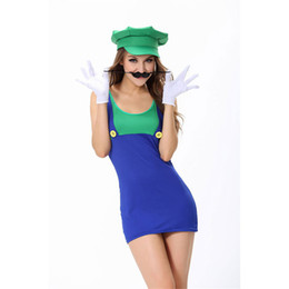 Wholesale Sexy Cosplay Skirt - Womens Sexy Halloween Party Super Mario Costumes Outfit Fancy Plumber Cosplay Top&Suspender Skirt Size M With Hat