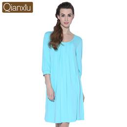 2019 strickte nachthemden Großhandels-Qianxiu Nightskirt Frauen gestrickte Drei Viertel SleepskirtsNightdress Plus Größe Nachthemd günstig strickte nachthemden