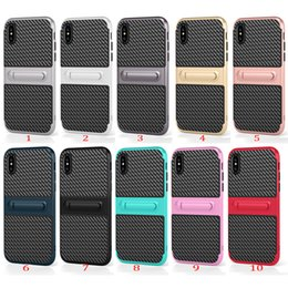Wholesale Iphone Rubber Stand - For iPhone X Case 2 in 1 Carbon Fiber Rubber Armor Case With Kickstand Stand For iPhone 8 8 Plus 6 7 Plus