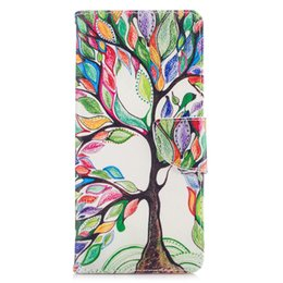 Wholesale Note Holster Wallet - For Samsung Note 8 S8 Plus Cover Painted PU Leather Cases Flip wallet Card Stents holster Feather Colorful Tree Phone Bags