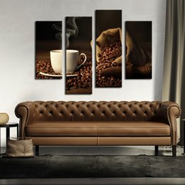 Wholesale Cup Coffee Pictures - 4 Picture Combination Brown A Cup Of Coffee And Coffee Bean Wall Art Painting The Picture Print On Canvas Food For Home Decor