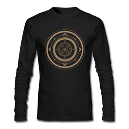 Wholesale Metal Sign Printing - Metal style men t shirt street boy's cool long sleeves tops originality design mens fine clothing Abstract geometric mystical sign