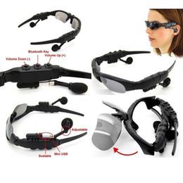 Wholesale Sunglasses Bluetooth Eyewear - Wireless Bluetooth SunGlasses Headset Headphones Handfree for iphone +Sport Glasses Eyewear MP3 for Samsung HTC Xiaomi Sony