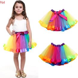 Wholesale Kids Wearing Mini Skirts - Fashion Kids Clothes Baby Girl Tutu Dance Wear Skirts Ballet Pettiskirt Colorful Dance Rainbow Skirt Ruffled Birthday Party Skirt SV029861