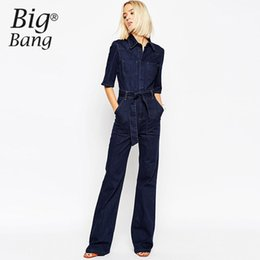 denim jumpsuits women rompers Coupons - Wholesale- Vogue Women Jumpsuits 2016 Summer and Autumn Jean Pants Belted Waist Pockets Long Jumpsuit Denim Rompers Trousers M16053004