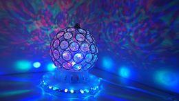 Wholesale Crystal Led Spotlight - 3w LED RGB Rotating Spotlight Crystal Bulb LED Stage Light cystal magic ball DJ Disco wedding Party Laser light