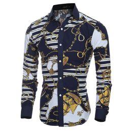 Wholesale Mens Colorful Fashion Shirts - Brand Men  Fashion Colorful spring and summer fashion brand mens clothes printed shirt large size Slim floral shirt men