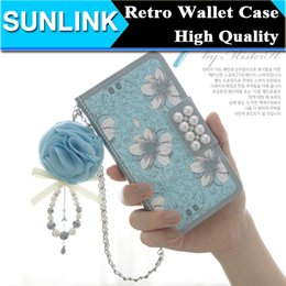 Wholesale Iphone Cover Palace Flower - Retro Vintage Palace Flowers Pearl Decorate PU Leather Wallet Case Magnetic Cover for iPhone 6 6s Plus 5s se Samsung S6 Edge Plus S5 Note 5