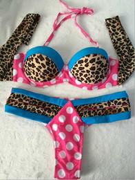 Wholesale Thong T Set - Hot Sexy summer Leopard patchwork Bikini sets low waist push up halter women swimwear Dots T Back thongs beachwear