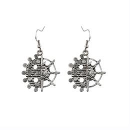 Wholesale Tibetan Jade Earrings - New Bohemia Tibetan jewelry Tibetan silver retro flower circular pendant retro plating 1pair lot drop shipping feather earrings