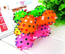 Wholesale Toy Bones For Dogs - New Arrive Dog Toys Colorful Dotted Dumbbell Shaped Dog Toys Squeeze Squeaky Faux Bone Pet Chew Toys For Dogs
