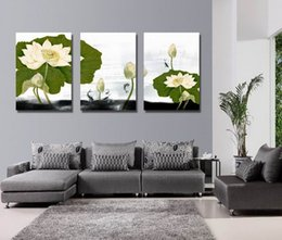 Wholesale Water Lily Paint - Giclee Print Canvas Wall Art Water Lily Flower Contemporary Floral Picture Home Decor Set30406