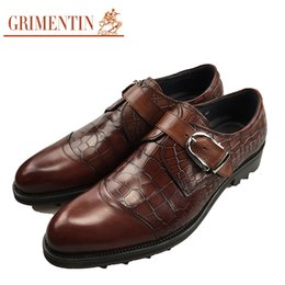 Wholesale Thick Soled Wedding Shoes - GRIMENTIN 2017 Newest Brand fashion crocodile style mens dress shoes genuine leather thick soled business office men shoes size:38-44 2SH294