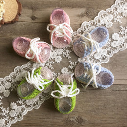 Wholesale Newborn Baby Crochet Handmade Shoes - Newborn shoes handmade knitting soft Infant Shoes Candy Color lace-up bows Baby first walkers crochet Girls Princess Shoeses C1833
