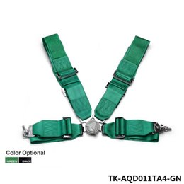 Wholesale Racing Seats Black - Black   Green - Seat Belt with 4pcs FIA 2020 Homologation  Harness Racing Satefy Seat Belt width:3 inches 4Point TK-AQD011TA4