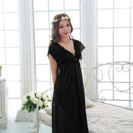 Wholesale Girl S Pajamas - Wholesale-Free shipping women lace nightdress girls pajamas long plus size bathrobe Large size Sleepwear nightgown night black M1801-2