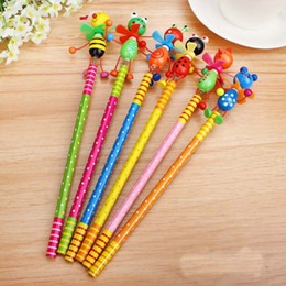 Wholesale Wooden Animals Heads - Wholesale-Hot Sale 48pcs lot Wooden Animals kawaii students Pencil With Shakable Head children cute study Cartoon Personality kids gifts
