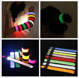 Wholesale wholesale slap bands - Nylon LED Sports Slap Wrist Strap Bands Wristband Light Flash Bracelet Glowing Armband Flare Strap For Party Concert Armband