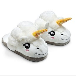 Wholesale Winter Slipper Flats - 2016 New Arrival Unisex Unicorn Cotton Home Slippers Chausson Licorne Indoor Christmas Slippers Shoes