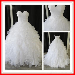 Wholesale Sample Lace Real - Custom Made Elegant Tiers Real Sample White Organza Sweetheart Ball Gown Chapel Empire Ruffles Beaded Wedding Dresses