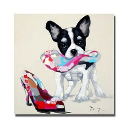 Wholesale High Heels Dropshipping - Dog and women high heel pictures dropshipping art dog oil painting pop art dog image online shopping