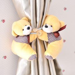 Wholesale Little Clamps - Cute Hi-Q Little Bear Curtain Buckle Tieback Clamp Clip Hook Gauze Curtain Clips Wedding Prop Backdrop Decorations supplies 5 color