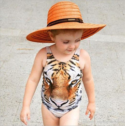 Wholesale Animal One Piece Swimsuit - Girls INS 3D tiger vest Swimsuit DHL Summer ins Tiger Print One-Pieces Swimwear baby animal swimming suit clothes B