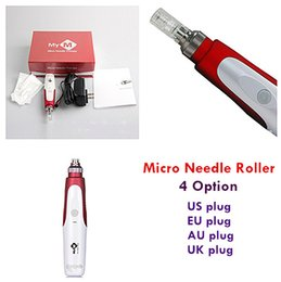 Wholesale Mym Derma Stamp - whosale Electric Derma Pen Stamp Auto Micro Needle Roller Anti Aging Skin Therapy Wand MYM derma pen red packge free ship drop ship