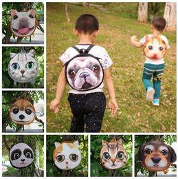 Wholesale Cute Cartoon Dog Backpack - 3D Cute Cat Dog Face Backpacks Cat Dog Animal Pattern Kids Bags Coin Purse 10 Styles LJJO3325