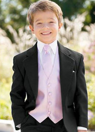 Wholesale Black Tuxedo Suspenders - Hot Custom Made One Button Boy Tuxedos Notch Lapel Children Suit Black Kid Ring Wedding Prom Suits (Jacket+Pants+Tie+Vest+Shirt+Suspenders)