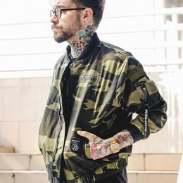 Wholesale Hip Hop Camo Clothing - Wholesale- Camoflage Men's Bomber Jackets Thin Style 2017 Spring V-neck Pilot Jackets Men Camo Hip Hop Jacket Men's Clothes