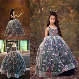 Wholesale Bella Formals - Fairy Embroidery Flower Girl Dress V-Neck Fluffy Bella Gown Girls Pageant Dresses Flower Girls Dresses Custom Made Kids Formal Wear