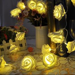 fiesta cuerdas frutas Rebajas 2016 venta caliente 20 LED con pilas de la flor de Rose luces de la secuencia de la boda decoraciones de luces para Chritsmas boda de Halloween Patio Feria del partido