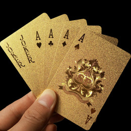 Wholesale Golden Play Cards - Hot Sales Durable Waterproof Plastic Playing Cards Golden Poker Cards 24K Gold-Foil Plated Playing Cards Poker Table Games Free Shipping