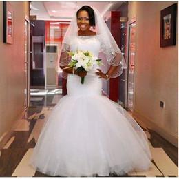 Wholesale Wholes Sales Dresses - Dubai White Mermaid Bride Dresses with Short Sleeve Muslim Jewel Neck Tulle Bridal Gowns 2016 Vestido de Novia Whole Sale