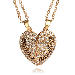 Wholesale Gold Jewelry For Children - mother daughter jewelry set clear crystal full Rhinestone broken heart pendant necklaces gold palted charm for women mother child necklace