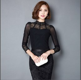 Wholesale New Korean Women Fashion Blouse - Elegant Black Lace Blouse Women 2015 Autumn Korean New Fashion Sexy Mesh Patchwork Long Sleeve Women Shirts Womens Basic Tops