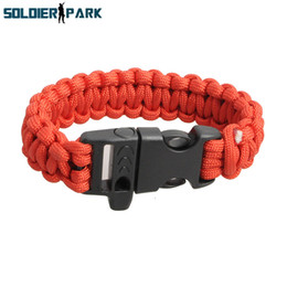 Wholesale whistle gear - Outdoor Camping Hiking Climbing Travel Kit Gear Buckle Paracord Rescue Rope Escape Bracelet Woven Bracelet with Whistle* order<$18no track