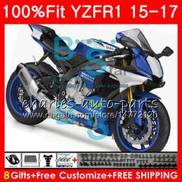 Wholesale Gold Yamaha - Injection Body For YAMAHA YZF 1000 blue black YZF-R1 15 17 YZF R1 2015 2016 2017 87NO43 YZF1000 YZF R 1 YZF-1000 YZFR1 15 16 17 Fairing kit