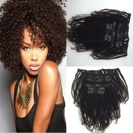 Wholesale Extention Human Hair Indian - Hot sale 100% Indian Remy Hair Clip In Extension Curly Human Hair Weave Extension 6Pcs Set 120g Clip In human hair extention