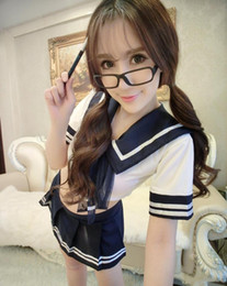Wholesale School Girl Underwear - Sailor suit sexy underwear stage school wear reality anime girl suit small princess dress with short sleeves