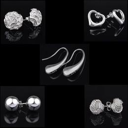 Wholesale Ladies Sterling Silver Earrings - Top Quality Popular 925 Sterling Silver Stud Fashion Jewelry Lady Girl Solid 6mm 8mm 10mm Bead Women Earrings Jewelry Heart Earring