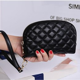Wholesale Mini Quilted Purses - 4pcs The new woman Quilted Clutch handbag leather wrist bag purse